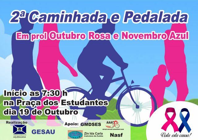 Amanhã, 19, tem a 2ª Caminhada e Pedalada em comemoração ao Outubro Rosa e Novembro Azul