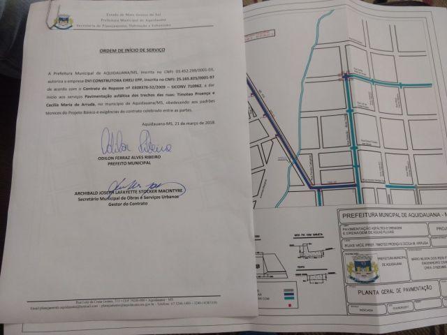 Prefeito assina ordem de serviço para drenagem e pavimentação em Aquidauana