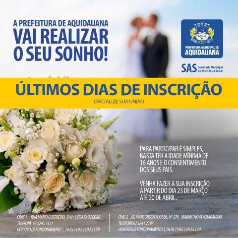 Termina nesta sexta-feira o prazo de inscrição do Casamento Comunitário em Aquidauana